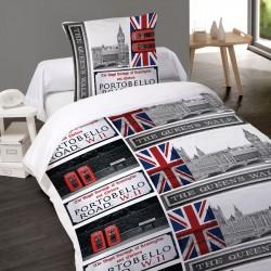 Housse de couette PORTOBELLO LONDON LONDRES 1 Place 140 x 200 +1 Taie Coton