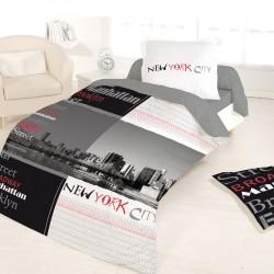 Housse de couette 140 x 200 + 1 Taie MANHATTAN NEW YORK Coton