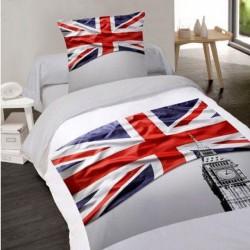 Housse de couette 140 x 200 + 1 Taie BRITISH FLAG Coton