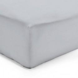 DRAP HOUSSE 140 x 190 cm GRIS PERLE VERITABLE PERCALE DE COTON Bonnet de 30 cm