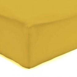 DRAP HOUSSE 140 x 190 cm SAFRAN VERITABLE PERCALE DE COTON Bonnet de 30 cm