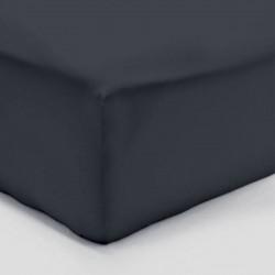 DRAP HOUSSE 160 x 200 GRIS ANTHRACITE VERITABLE PERCALE DE COTON bonnet 30 cm