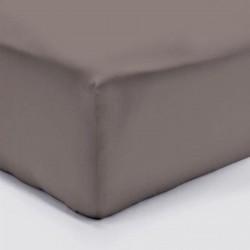 DRAP HOUSSE 140 x 190 cmTAUPE VERITABLE PERCALE DE COTON Bonnet de 30 cm