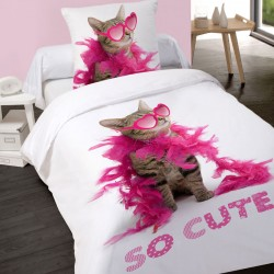 Housse de couette 140 x 200 + 1 Taie SO CUTE Chat Coton