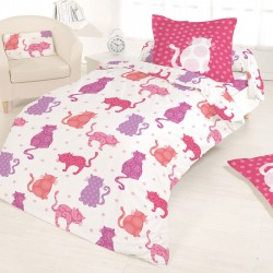 Housse de couette 140 x 200 + 1 Taie CHAT EN ROSE Lovely Cats 100%  Coton