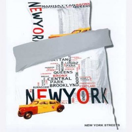 Housse de couette NEW YORK Streets Taxi usa 140 x 200 + 1 Taie coton