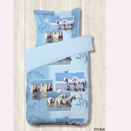 Housse de couette 140 x 200 + 1 Taie FIONA CHEVAUX  cheval COTON
