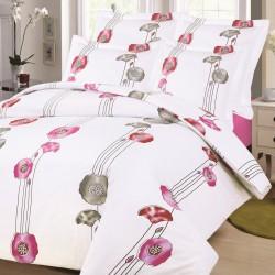 Housse de couette Fleurs Rose 220 x 240 + 2 Taies non placés coton tissage serré