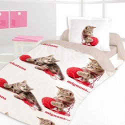 Housse de couette CHATONS SI MIGNONS Chat 140 x 200 +1 Taie
