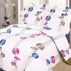 Parure de draps Fleurs Bleu pour lit de 140x190 cm 4 PIECES