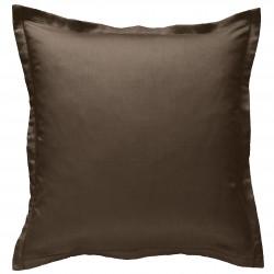 Taie d oreiller à volants 65 x 65 cm VISON Chocolat Percale de Coton