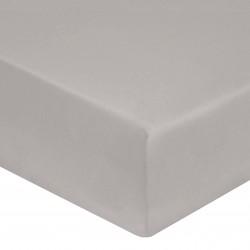 DRAP HOUSSE 140 x 190 cm GRIS PERLE VERITABLE SATIN DE COTON Bonnet de 30 cm