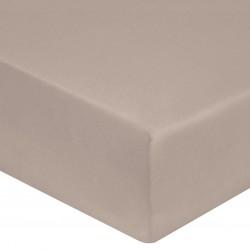 DRAP HOUSSE 140 x 190 cm GALET VERITABLE SATIN DE COTON Bonnet de 30 cm