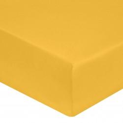 DRAP HOUSSE 140 x 190 cm JAUNE SAFRAN VERITABLE SATIN DE COTON Bonnet de 30 cm