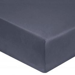 DRAP HOUSSE 140 x 190 cm GRIS ANTHRACITE SATIN DE COTON Bonnet de 30 cm