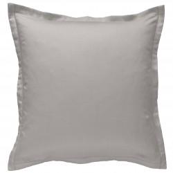 Taie d oreiller à volants  65 x 65 cm GRIS PERLE Percale de Coton