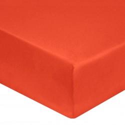 DRAP HOUSSE 140 x 190 cm CORAIL VERITABLE PERCALE DE COTON Bonnet de 30 cm