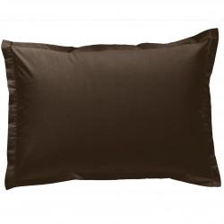 Taie d oreiller à volants  50x70 cm VISON Chocolat Percale de Coton