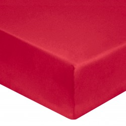 DRAP HOUSSE 160 x 200 ROUGE VERITABLE PERCALE DE COTON maxi bonnet 40 cm