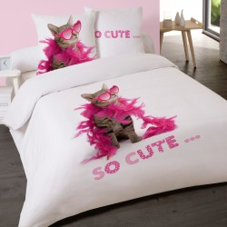 Housse de couette CHAT SO CUTE Chaton 200 x 200 +2 Taies Coton 100%