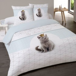 Housse de couette CHAT KING Chaton 240 x 220 +2 Taies Coton