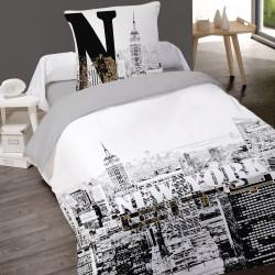 Housse de couette NEW YORK BUILDINGS 140 x 200 + 1 Taie 100% Coton