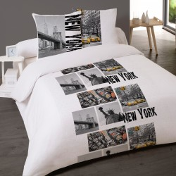 Housse de couette NEW YORK SKYLINE 240 x 220 +2 Taies Coton