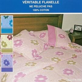 Drap Housse 200 x 200 cm Flanelle MARGUERITE PARME imprimé