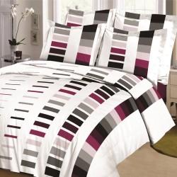 Parure de draps DIAPO Bordeaux-Gris pour lit de 160 x 200 cm 4 PIECES si