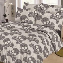 Parure de draps TETES de MORT Gris pour lit de 160 x 200 cm 4 PIECES si