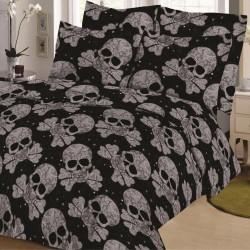 Parure de draps TETES de MORT Noir pour lit de 160 x 200 cm 4 PIECES si