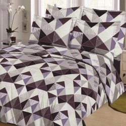 Parure de draps TRIANGLE Prune-Gris pour lit de 160 x 200 cm 4 PIECES si