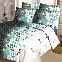 Parure de draps LOSANGE Vert pour lit de 140x190 cm 4 PIECES