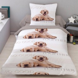 Housse de couette Petits Chiens TOGETHER 140 x 200 + 1 Taie 100% Coton