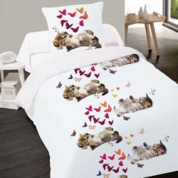 Housse de couette CHAT SWEET KITTY  140 x 200 + 1 Taie  100%  Coton