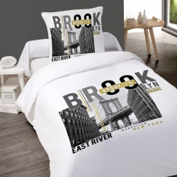 Housse de couette NEW YORK BROOKLYN  140 x 200 + 1 Taie  100%  Coton