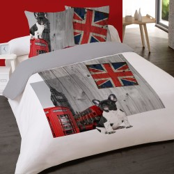 Housse de couette DOG in LONDON 200 x 200 +2 Taies Coton 100%
