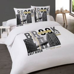 Housse de couette NEW YORK BROOKLYN 240 x 220 +2 Taies Coton