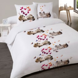 Housse de couette Chat SWEET KITTY 240 x 220 +2 Taies Coton