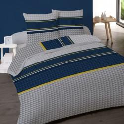 Parure de draps TRIANGLE BLEU pour lit de 140x190 cm 4 PIECES