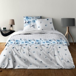 Parure de draps pour lit de 160 x 200 cm 4 PIECES ROSE BLEU Coton 57 fils supérieur