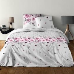 Parure de draps pour lit de 160 x 200 cm 4 PIECES ROSE ROSE Coton 57 fils supérieur