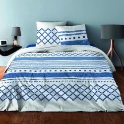 Parure de draps pour lit de 160 x 200 cm 4 PIECES GEOMETRIQUE MARINE Coton 57 fils supérieur