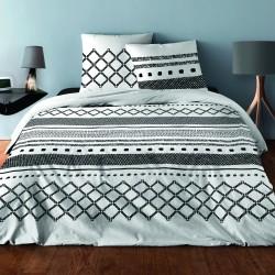 Parure de draps pour lit de 160 x 200 cm 4 PIECES GEOMETRIQUE NOIR Coton 57 fils supérieur
