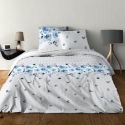 Parure de draps ROSE BLEU pour lit de 140 x190 cm 4 PIECES