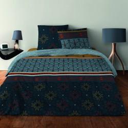 Parure de draps ART DECO LAGON pour lit de 140 x190 cm 4 PIECES