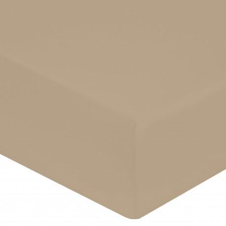 DRAP HOUSSE 140 x 190 cm FICELLE IVOIRE VERITABLE PERCALE DE COTON Bonnet de 30 cm