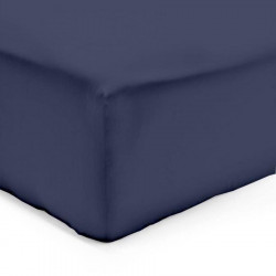 DRAP HOUSSE 140 x 190 cm BLEU MARINE VERITABLE PERCALE DE COTON Bonnet de 30 cm