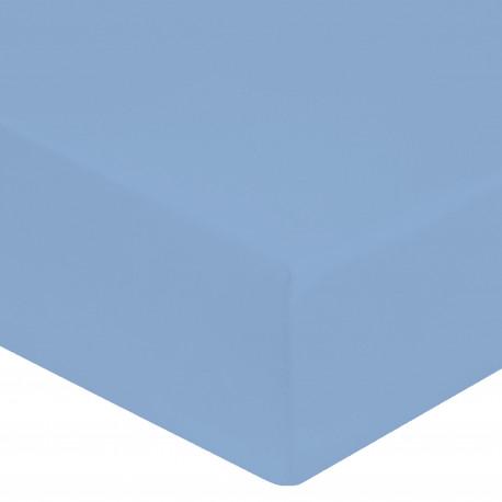 DRAP HOUSSE 160 x 200 BLEU CIEL VERITABLE PERCALE DE COTON maxi bonnet 40 cm