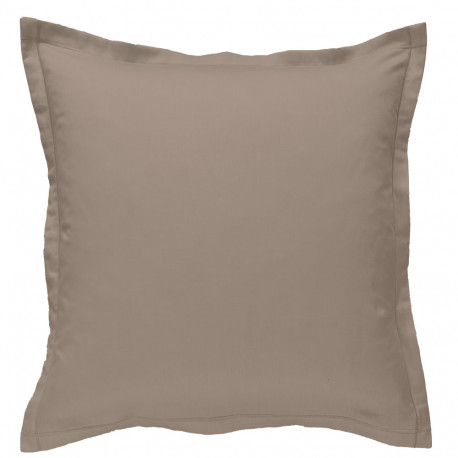 Taie d oreiller à volants 65 x 65 cm TAUPE Percale de Coton